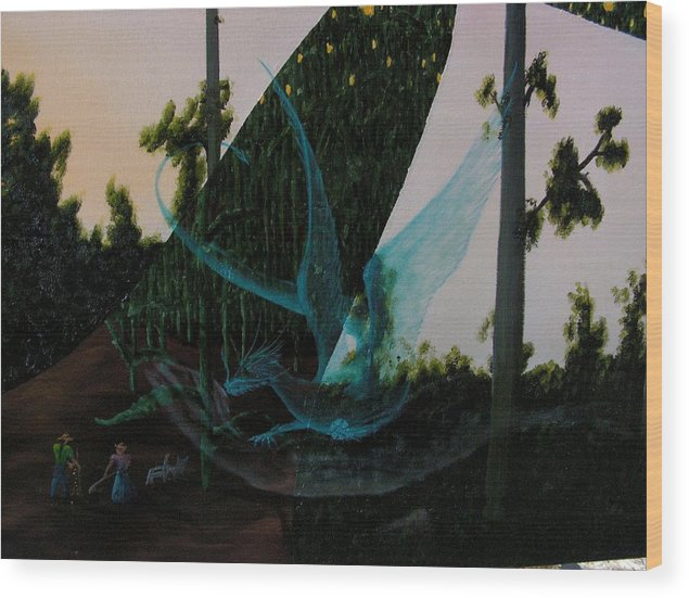 Dragon. Surreal Impressionism Wood Print featuring the painting Blue Dragon-detail by Ivan Rijhoff