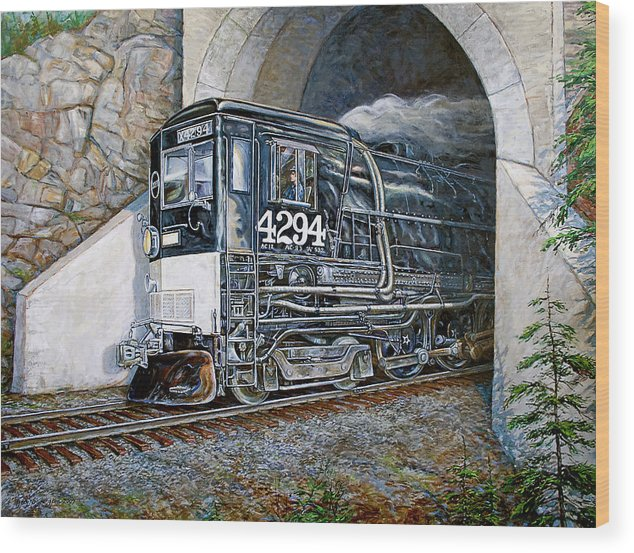 Train Wood Print featuring the painting Cab Forward by Gary Symington