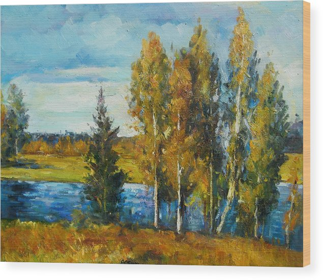 Landscape Wood Print featuring the painting Cariboo Fall by Imagine Art Works Studio