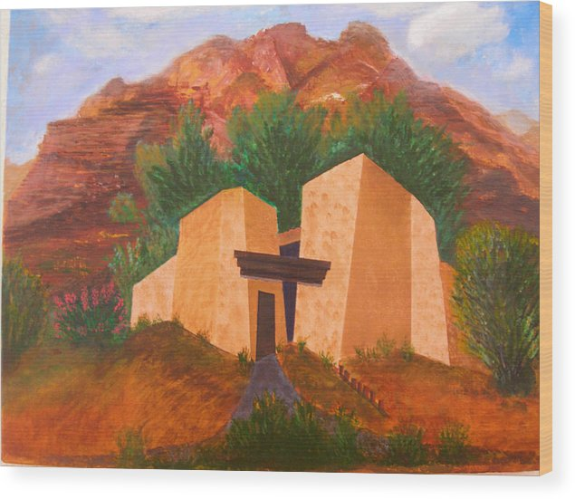 Landscape Wood Print featuring the painting Casa De Pax Y Bueno by Jack Hampton