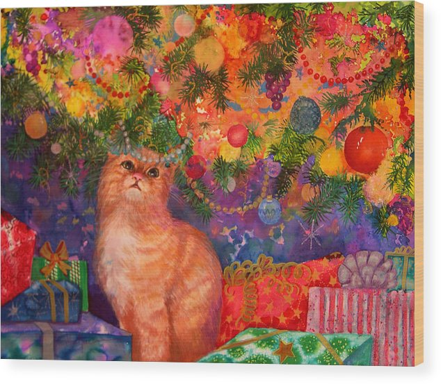 Kitty Wood Print featuring the painting Christmas Kitty by Valerie Aune