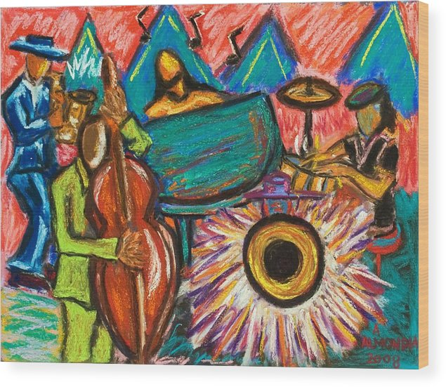 Jazz Wood Print featuring the painting Fusion by Albert Almondia