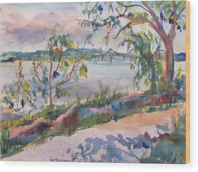 Landscape Wood Print featuring the painting May Afternoon At Nyack Beach by Joyce Kanyuk