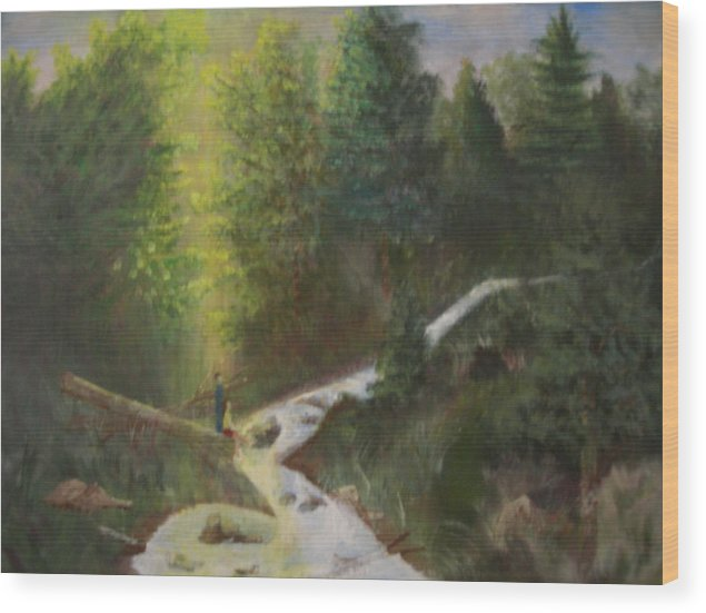 Landscape Wood Print featuring the painting My Favorite Spot by Jack Hampton