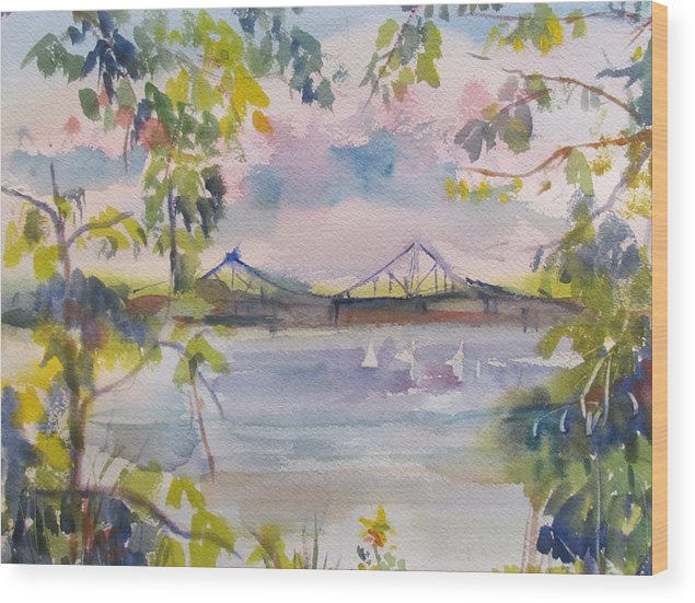 Water Wood Print featuring the painting Painting In Nyack by Joyce Kanyuk