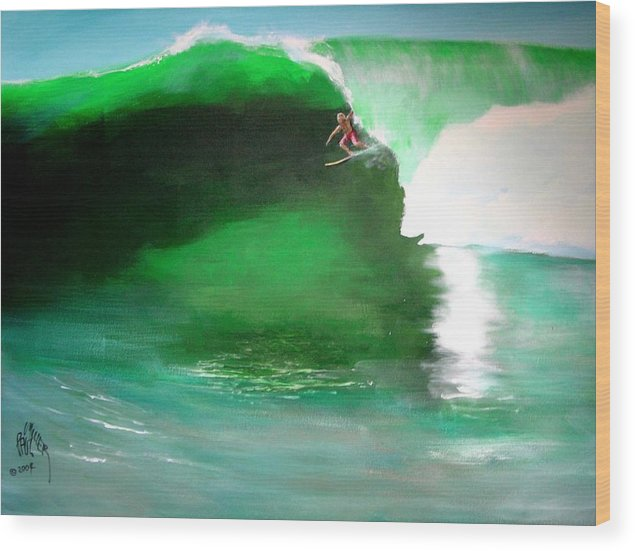 Surf Wood Print featuring the painting Pat Connor Leaving Church K55 Baja by Paul Miller