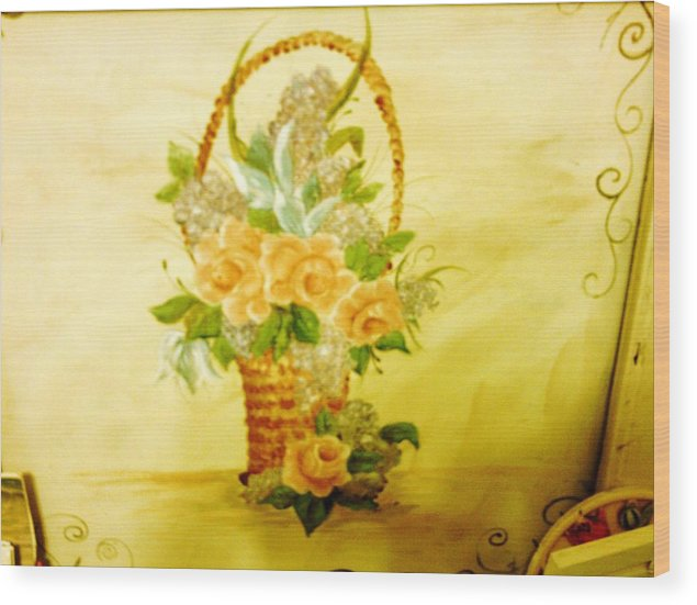 Roses Wood Print featuring the painting Roses In Basket by Carolyn Sylvester