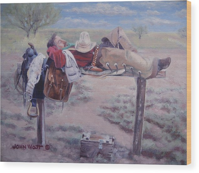 Empire Ranch Cowboy Wood Print featuring the painting Select Comfort by John Watt