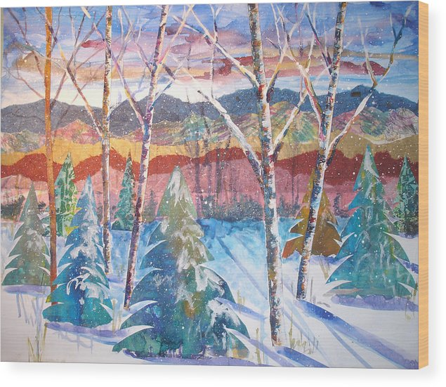 Landscape Wood Print featuring the mixed media snowy Afternoon by Joyce Kanyuk