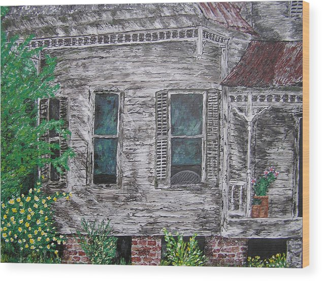 House Wood Print featuring the painting Solitude Awaits by Ricklene Wren