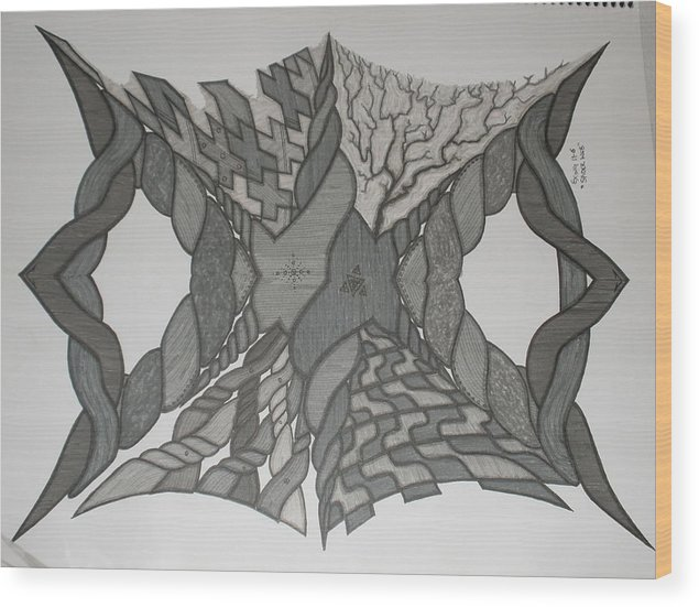 Abstract Wood Print featuring the painting Spiderweb by Scott King