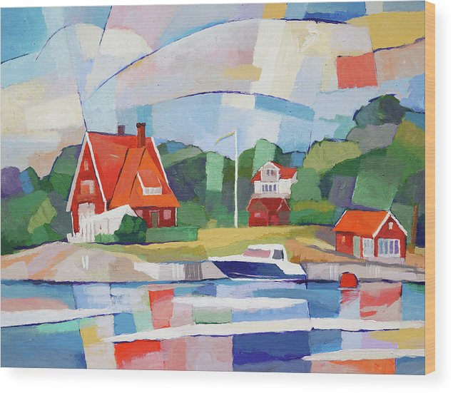Swedish Paradise Wood Print featuring the painting Summer Paradise by Lutz Baar