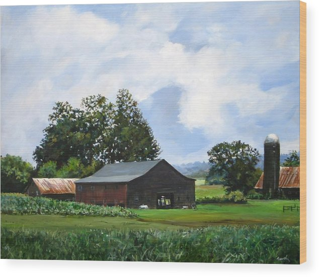 Farm Wood Print featuring the painting Tennessee Sky by William Brody