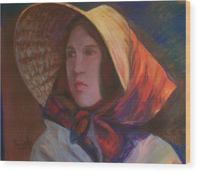 This Portrait In Pastel Was Created Using A Cool Light On The Face And A Warm Light On The Bonnet. It Illustrates What Can Be Achieved With Two Kinds Of Lighting At The Same Time. Wood Print featuring the pastel The Bonnet by Pamela Preciado