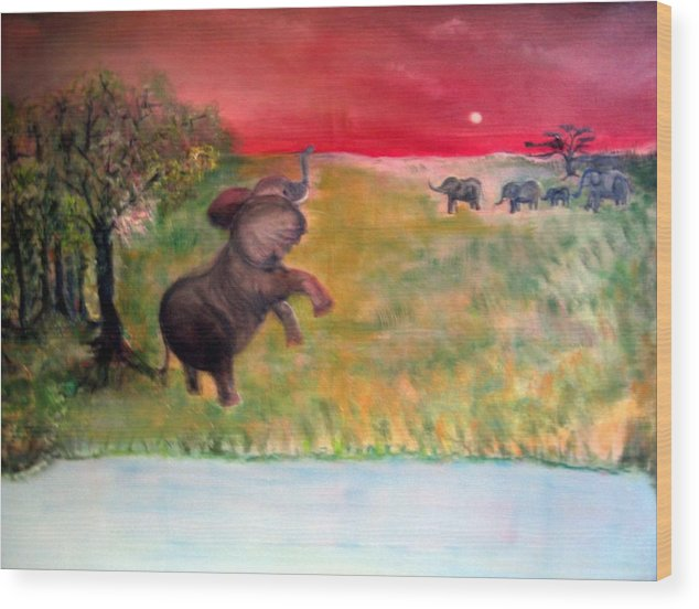 Wildlife Wood Print featuring the painting The Calling - Elephants On The Serengeti by Michela Akers