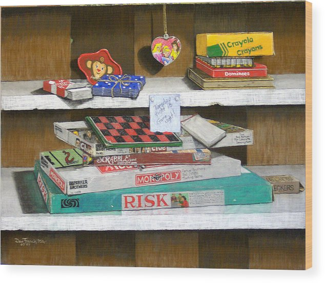 Still Life Wood Print featuring the painting The Game Shelf by David Francis