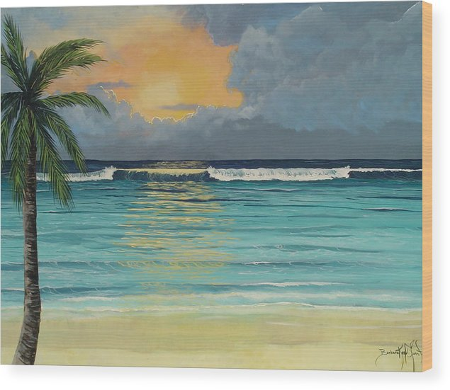 Ocean Wood Print featuring the painting Tranquil Sunset by Barbara Keel