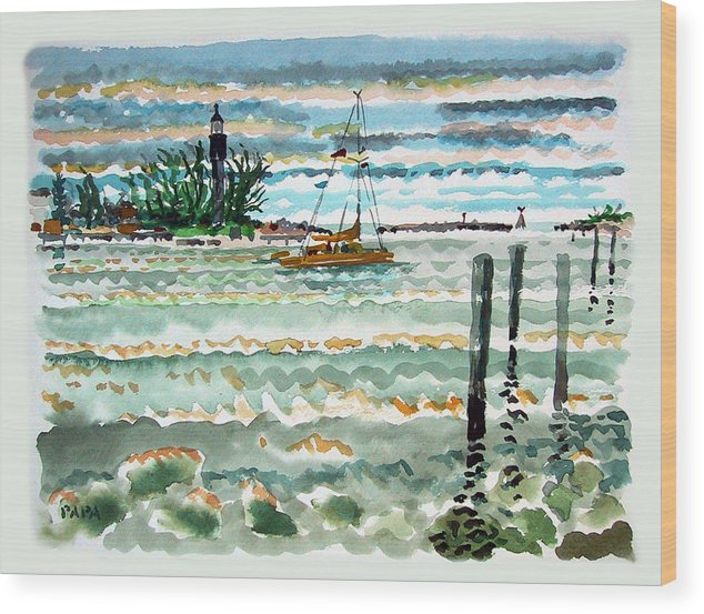 Lighthouse Wood Print featuring the painting View Of Lighthouse Point by Ralph Papa
