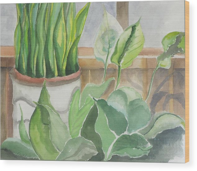 Still Life Wood Print featuring the painting Wintergarten by Kathy Mitchell