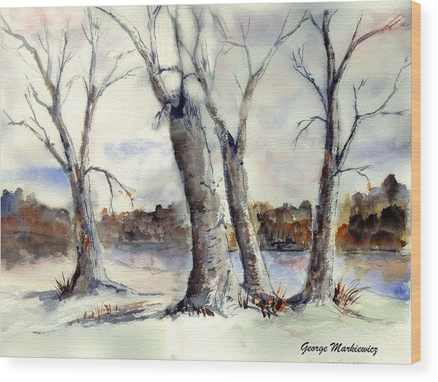 Landscape Wood Print featuring the print Dancing In Winter by George Markiewicz