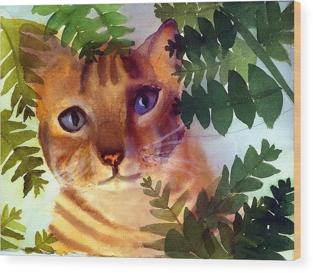 A Pet Cat Hides Behind Palms Wood Print featuring the print Hide And Seek Cat by George Markiewicz