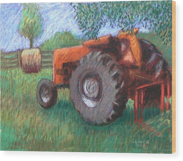 Tractor Wood Print featuring the painting Farm Relic by Gainor Roberts