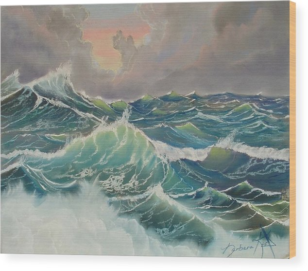 Seascapes Wood Print featuring the pastel Big Seas by Barbara Keel