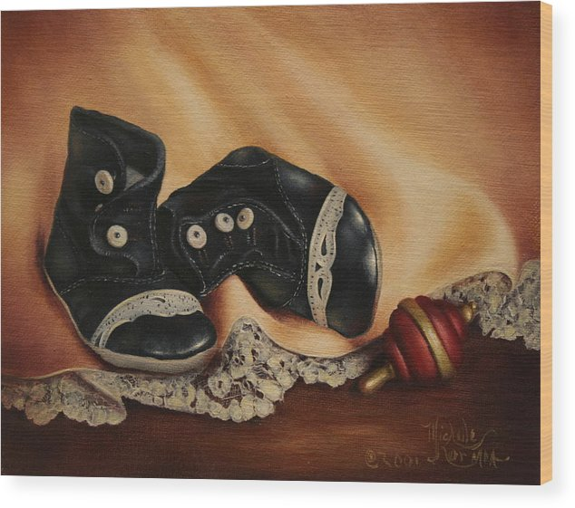 Still Life Wood Print featuring the painting Boots by Michelle Kerr