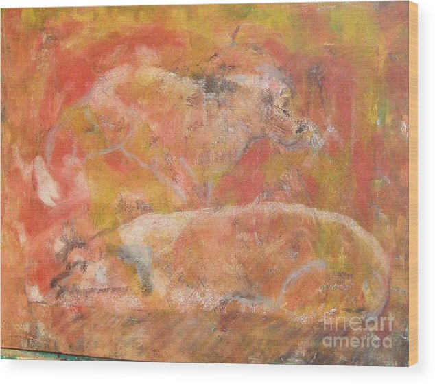 Abstract Wood Print featuring the painting Dogs - Mother And Child by Don Phillips