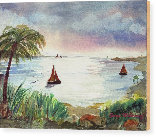 Island Landscape Wood Print featuring the print Island Of Dreams by George Markiewicz