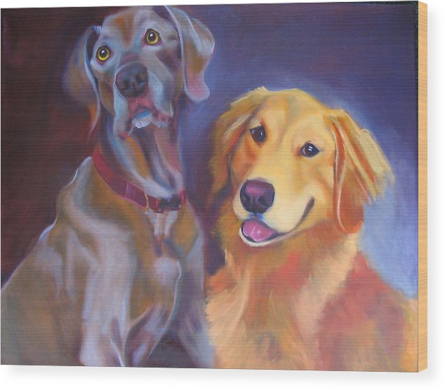 Dog Portrait Wood Print featuring the painting Maddy And Teddy by Kaytee Esser