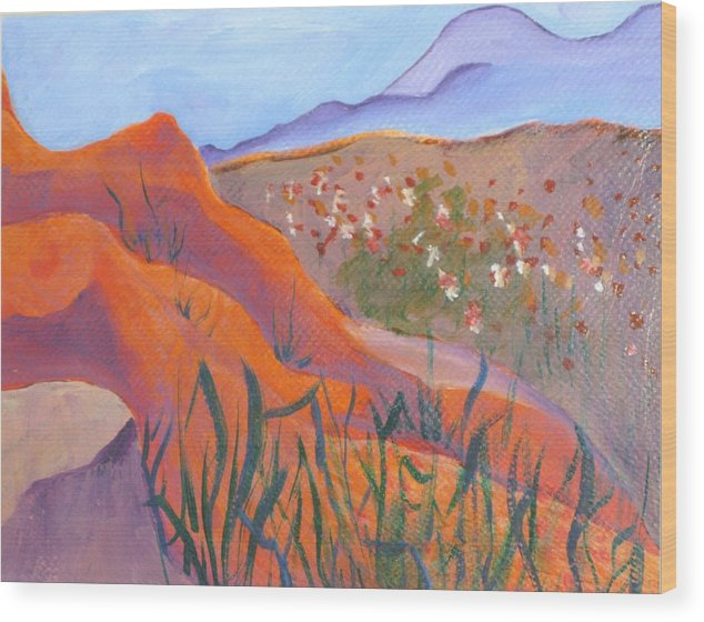 Landscape Wood Print featuring the painting Superstition Spring by Kathy Mitchell