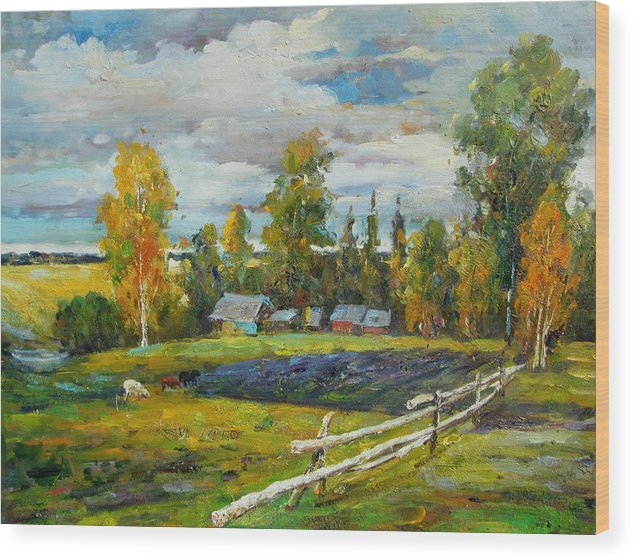 Landscape Wood Print featuring the painting The Old Farm by Imagine Art Works Studio