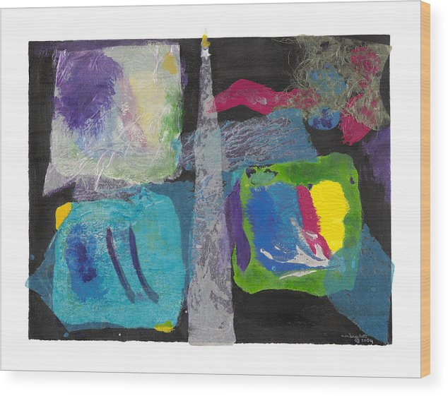 Expressionism Wood Print featuring the mixed media Night Light by Nancy Brockett