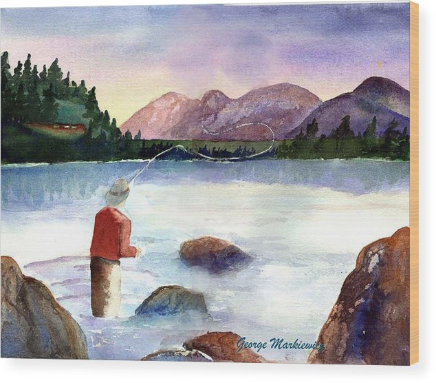 Fisherman At Lake Wood Print featuring the print Fisherman In The Morning by George Markiewicz