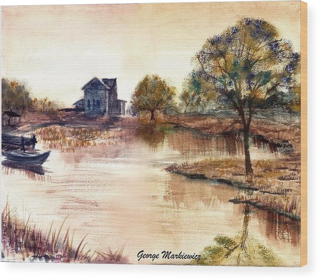 Water Landscape Wood Print featuring the print Old Time Mural by George Markiewicz
