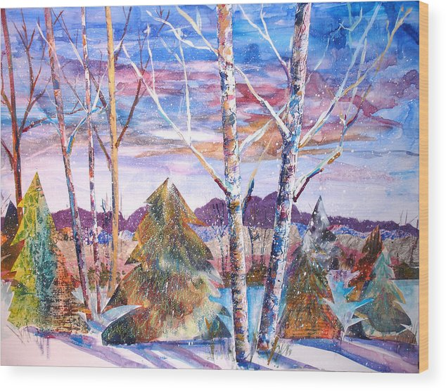 Landscape Wood Print featuring the mixed media Winter Day by Joyce Kanyuk