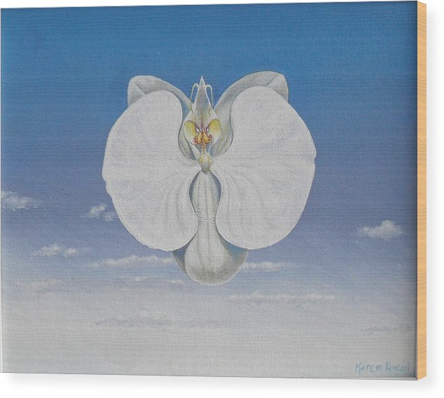 Orchid Wood Print featuring the painting Heaven Bound by Karen Roncari