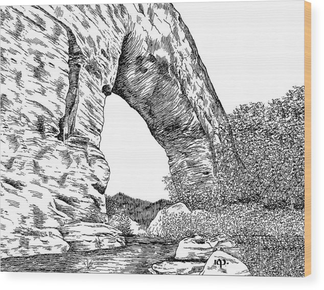Natural Bridge Wood Print featuring the drawing Natural Bridge by Robert Powell
