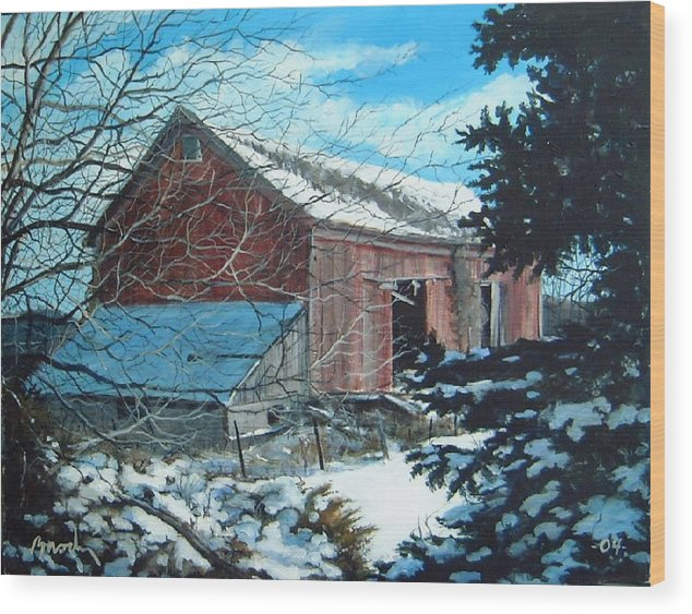 Barn Wood Print featuring the painting Parker Road Barn by William Brody