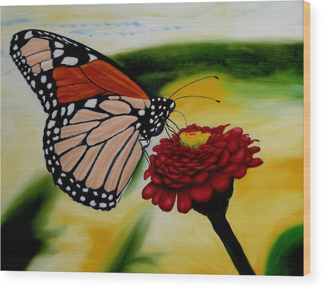 Butterfly. Flowers. Garden. Realism. Wood Print featuring the painting Monarch by Ivan Rijhoff