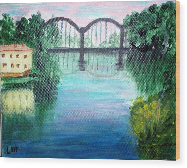 Landscape Wood Print featuring the painting Bridge On The River Adda by Lia Marsman
