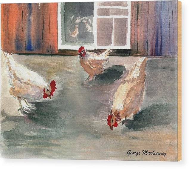 Farm Aniimals Wood Print featuring the print Chickens In The Barnyard by George Markiewicz