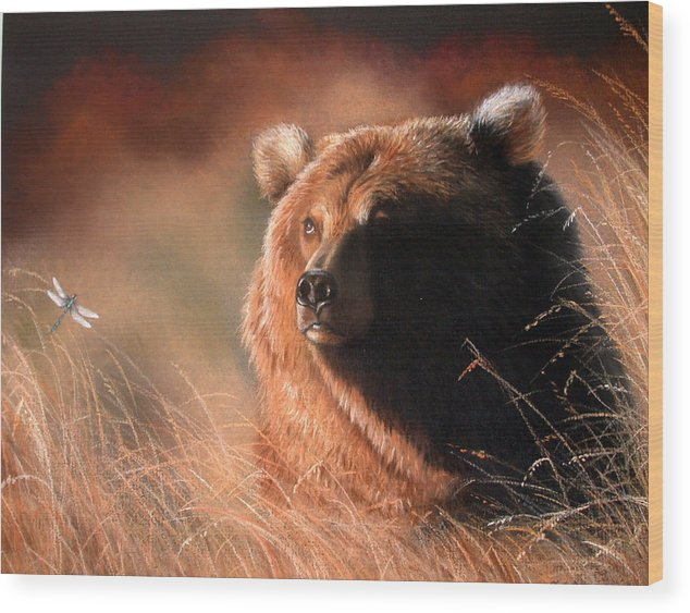 Wildlife Wood Print featuring the painting Day Dream by Deb Owens-Lowe