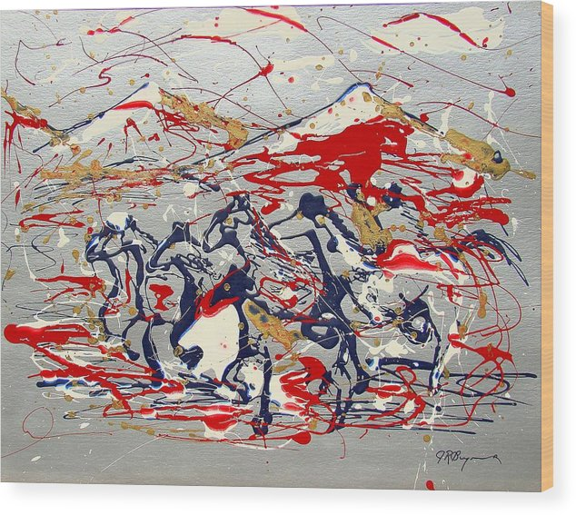 Freedom On The Open Range Wood Print featuring the painting Freedom On The Open Range by J R Seymour