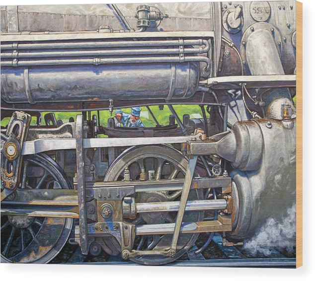 Train Wood Print featuring the painting Oiling The 28 by Gary Symington