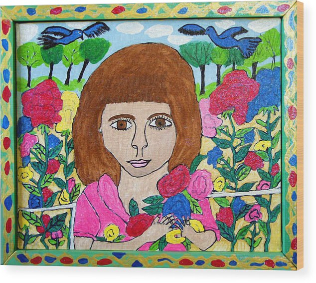 Rose Flowers Child Birds Wood Print featuring the painting Rose by Betty Roberts