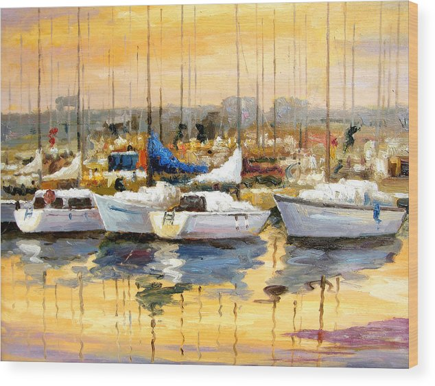Seascape Wood Print featuring the painting Where Did I Park My Boat by Imagine Art Works Studio