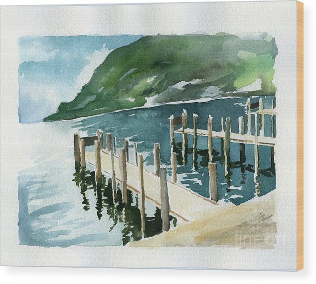 Harbor Water Nautical Wood Print featuring the painting Harbor by Malena Somoza