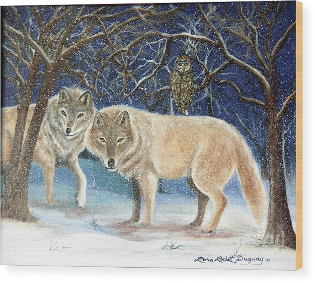 Wolves Wood Print featuring the painting Night Life In The Forest by Lora Duguay